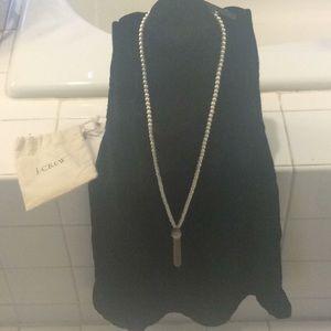NWT J. Crew long pearl necklace w tassel classic